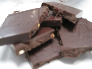Organic & fair trade cherry almond dark chocolate.